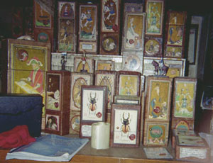 A few of Osvaldo's handcrafted Tarot boxes'